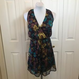 XXI Floral Blouson Sleeveless Sheer Overlay Dress